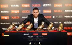 Barcelona's Lionel Messi with his six Golden Shoe awards. Picture: @FCBarcelona/Twitter