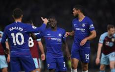 Chelsea players celebrate N'Golo Kante's goal against Burnley during their English Premier League clash on 22 April 2019. Picture: @ChelseaFC/Twitter