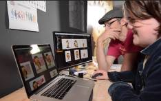 Co-producer and Director Michael Clark with Animator Rita du Plessis developing the film, 'Sam The Hedgehog'. Image: Supplied