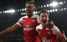Arsenal's Pierre-Emerick Aubameyang and Mesut Ozil celebrate a goal. Picture: @Arsenal/Twitter