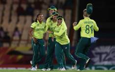 Proteas fast bowler Shabnim Ismail (left) celebrates the fall of a wicket. Picture: @ICC/Twitter