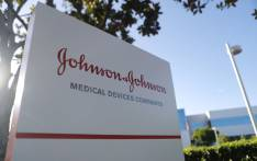 A sign is posted at the Johnson & Johnson campus on 26 August 2019 in Irvine, California. Picture: AFP
