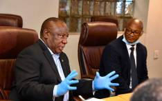 President Cyril Ramphosa receiving a briefing on the operations of the Human Settlements, Water and Sanitation COVID-19 Command Centre at Rand Water in Johannesburg on 7 April 2020. Picture: @PresidencyZA/Twitter