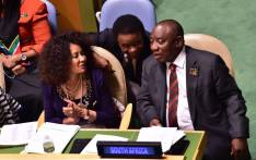 President Cyril Ramaphosa (right) and Minister of International Relations and Cooperation Lindiwe Sisulu (left) at the United Nations headquarters in New York. Picture: @PresidencyZA/Twitter