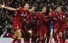 Liverpool players celebrate a goal. Picture: @LFC/Twitter
