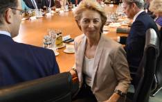 Ursula von der Leyen poses for photographers during her last weekly cabinet meeting on 17 July 2019 at the Chancellery in Berlin. Von der Leyen, who had served as defence minister since 2013, will step down to become the first woman to hold the EU's top job after MEPs narrowly backed her in a vote on 16 July 2019. Picture: AFP