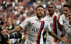 Paris Saint-Germain's Brazilian forward Neymar celebrates after scoring a goal during the French L1 football match between Paris Saint-Germain (PSG) and Racing Club de Strasbourg Alsace (RCS) on 14 September, 2019 at the Parc des Princes stadium in Paris. Picture: AFP