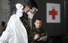 A picture taken on 22 March 2020 in Biere, western Switzerland shows Swiss soldiers during a formation before being deployed to support public hospitals as part of a historic mobilisation for the Swiss Army since the Second World War, against the spread of the COVID-19, the novel coronavirus. Picture: AFP.
