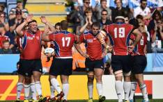 FILE: Namibia's players celebrate after scoring a try at the end of a Pool C match of the 2015 Rugby World Cup between Argentina and Namibia at Leicester City Stadium in Leicester, central England, on 11 October, 2015. Picture: AFP