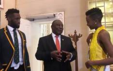 Cyril Ramaphosa meets Miss Universe 2019 Zozibini Tunzi and Springbok captain Siya Kolisi at the State of the Nation Address at Parliament in Cape Town on 13 February 2020. Picture: @CyrilRamaphosa/Twitter