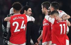 Arsenal players celebrate their victory over Manchester United in their English Premier League match on 1 January 2020. Picture: @Arsenal/Twitter