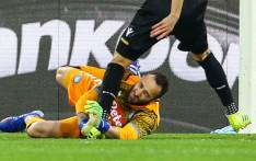Napoli goalkeeper David Ospina collides with Udinese forward Ignacio Pussetto during their Italian Serie A football match at the San Paolo stadium in Naples on 17 March 2019. Picture: AFP