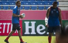 Samoa's lock Christopher Vui (L) takes part in the captain's run at Kumagaya Rugby Stadium in Kumagaya on 23 September 2019, ahead of their Rugby World Cup Pool A match against Russia. Picture: AFP