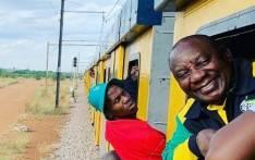 President Cyril Ramaphosa on a Metrorail train. Picture:  EWN.
