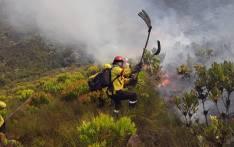 Working on Fire firefighters battle a fire near Franschhoek in the Western Cape on 19 February 2019. Picture: @wo_fire/Twitter