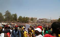 A helicopter flies over thousands of students who gathered at the Union Buildings in Pretoria on 23 October 2015 protesting over proposed university tuition fee increases. Picture: Reinart Toerien/EWN.