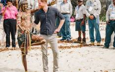 Britain's Prince Harry meets with a member of the Fraser Island Aborigine community on 22 October 2018. Picture: @KensingtonRoyal/Twitter