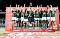 The Springbok Sevens team celebrate their victory in Dubai. Picture: @Blitzboks/Twitter
