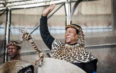 Zulu King Goodwill Zwelithini greets his supporters at The Moses Mabhida Football Stadium in Durban on 7 October 2018. Picture: AFP