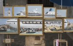 """A screengrab of a montage of oil paintings entitled """"Venice in Oil"""" portraying a massive cruise ship surrounded by tiny Venetian gondola boats. Picture: @banksy/Instagram."""