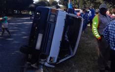 A taxi carrying 19 schoolchildren overturned in Vanderbijlpark on 29 January 2020. Picture: @ER24EMS/Twitter