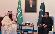 In this handout photograph taken and released by Pakistan's Press Information Department (PID) on 17 February 2019, Pakistan's Prime Minister Imran Khan (R) sits with Saudi Arabian Crown Prince Mohammed bin Salman (L) during his tour of Asia. Picture: AFP