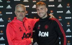Manchester United manager Jose Mourinho and defender Luke Shaw. Picture: @ManUtd/Twitter.