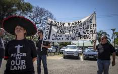 Protesters from Black Monday march to the American Embassy in Pretoria, demanding assistance from American President Donald Trump in stopping farm murders and land grabs in South Africa. Picture: Thomas Holder/EWN.