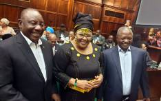 President Cyril Ramaphosa (left), ANC chief whip Pemmy Majodina (centre) and ANC deputy president David Mabuza (right). Picture: @ANCParliament/Twitter