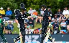 New Zealand opener Martin Guptill and skipper Kane Williamson during their team's one-day series against Bangladesh in Christchurch. Picture: @BLACKCAPS/Twitter.