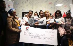 Inganati Mafenuka at the KFM studio in Cape Town where a birthday party for her quadruplets was hosted on 10 July 2019. Picture: Bertram Malgas/EWN