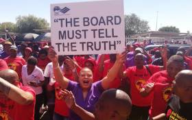 SAA workers strike, bringing operations OR Tambo International Airport to a standstill. Picture: Numsa Twitter