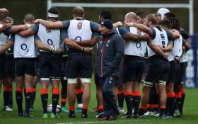 FILE: England's Eddie Jones seen with his team. Picture: Twitter/@EnglandRugby.