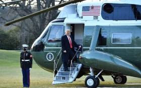 US President Donald Trump boards Marine One as he departs the White House in Washington, DC, on 20 January 2021. Picture: MANDEL NGAN/AFP
