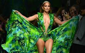 US singer Jennifer Lopez presents a creation for Versace's Women's Spring Summer 2020 collection in Milan on 20 September 2019. Picture: AFP.