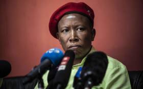 EFF leader Julius Malema at a media briefing. Picture: Abigail Javier/EWN