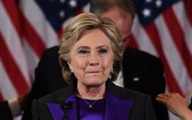 "FILE: Hillary Clinton joked that the letter had been ""found in the archives"". Picture: AFP."