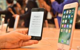 Apple's new iPhone 7 and 7 Plus displayed at the company's flagship store in Tokyo on 16 September 2016. Picture: AFP.