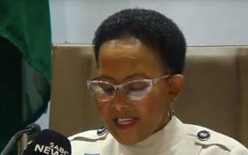 A YouTube screengrab of Sports Minister Tokozile Xasa releasing the report into Sascoc on 7 December 2018.