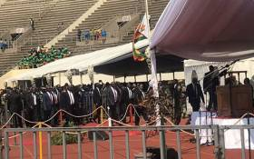 Zimabwe's President Emmerson Mnangagwa arrives at the National Sports Stadium in Harare for the funeral service of Robert Mugabe on 14 September 2019. Picture: EWN
