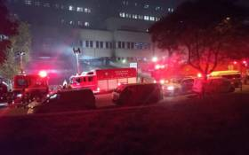 Emergency personnel battled a blaze that broke out after a storeroom for medical supplies at the Charlotte Maxeke Academic Hospital caught fire on Friday, 16 April 2021.Picture: @GautengHealth