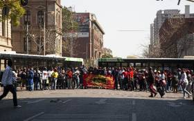 City of Tshwane municipal workers protest in the city centre demanding an 18% salary increase. Picture: Kayleen Morgan/EWN