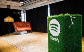 A speaker with the Spotify logo is pictured in the cafeteria of the company headquarters in Stockholm is pictured on 16 February 2015. Picture: AFP