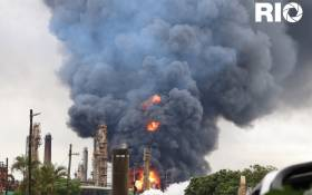 The Engen refinery in Wentworth Durban is engulfed in flames after an explosion.. Picture: Riosha Kuar