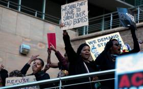 FILE: Demonstrators gather near the Johannesburg Stock Exchange in Sandton on 13 September 2019 in protest against gender-based violence. Picture: Kayleen Morgan/EWN