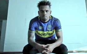 A video of screengrab of South African footballer Kermit Erasmus in the Cape Town City FC kit.