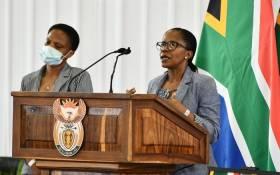 Nurse Mavis Mahlakoane spoke at Mthembu's funeral service in Emalahleni, Mpumalanga on Sunday. Picture: GCIS