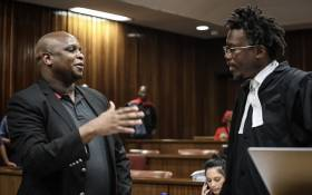The EFF's Floyd Shivambu pictured with Julius Malema's lawyer Thembeka Ngcukaitobi at the High Court in Pretoria on 12 December 2018. Picture: Abigail Javier/EWN