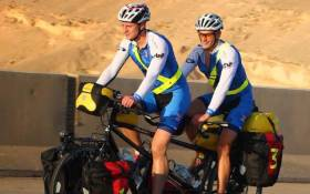 Alex McMaster and Merlin Hetherington pedal their way through Africa. Picture: Supplied