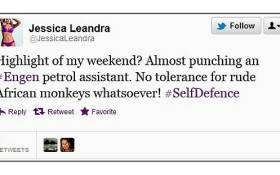 One of the tweets that cast Jessica Leandra dos Santos as a racist.